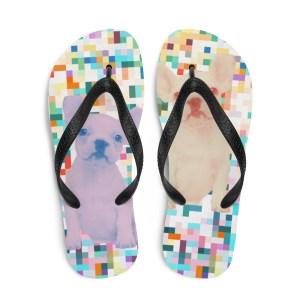 Frenchie Pixels Flip-Flops