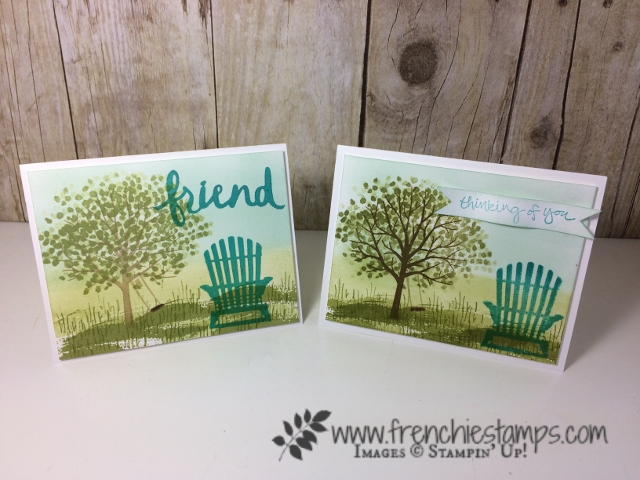 Summer Scenery Sponging and stamp with handmade stamp