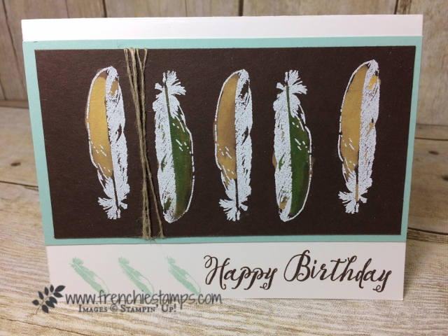 Feather Together, Color with bleach and blender pen, Stampin'Up!, Frenchiestamps