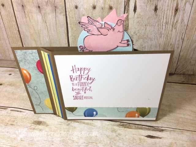 This Little Piggy, Fancy Fold, Wiper card, Interactive Card, Happy Birthday Thinlits,  Stampin'Up!