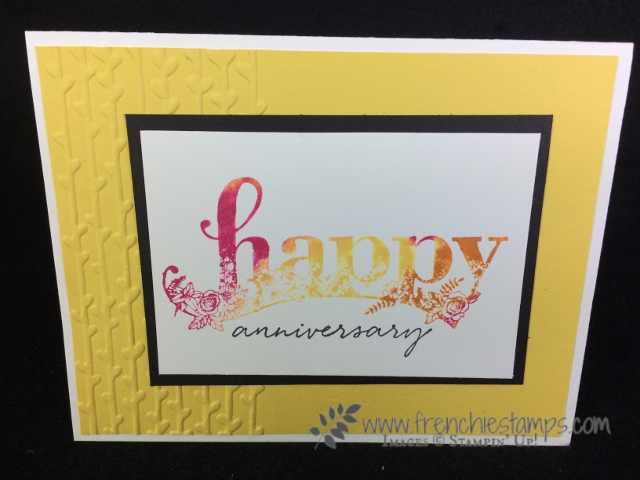 Happy Wishes, Stampin'Up! Sale a Bration, Touch of Textures, Baby Wipe technique, Frenchiestamps, Petal Pair Embossing Folder
