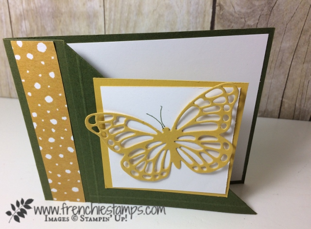 Corner Fold card, Butterfly Framelits, Stampin'Up!