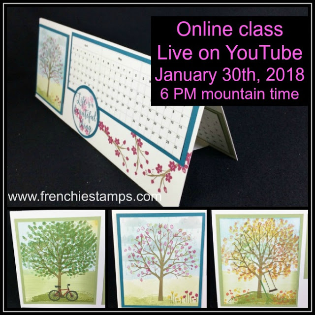 Horizontal Calendar, Live on Youtube, Class in the mail, Sheltering Tree