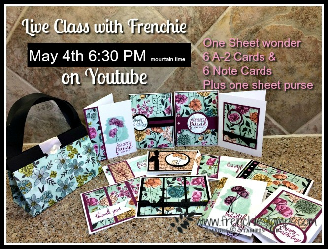 One Sheet Wonder, One Sheet Purse, Live Class with Frenchie, Stampin'Up!