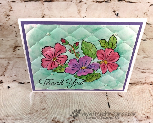 Watercolor Quilt, Tuffted embossing folder, stampin'Up!, Frenchiestamps, Blended Seasons,
