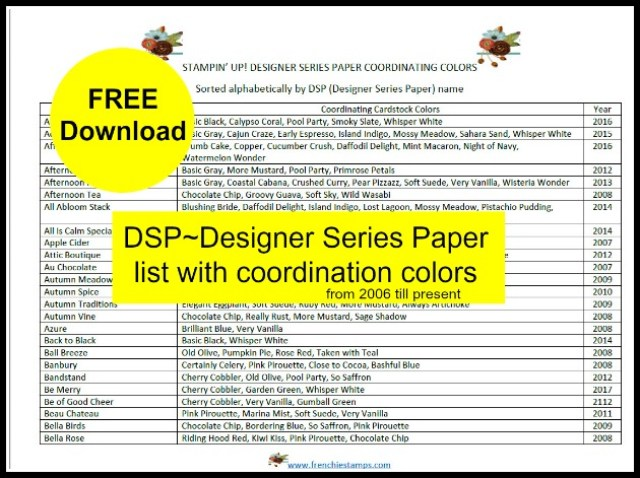 Designer Series Paper Color coordination list from 2006 to present