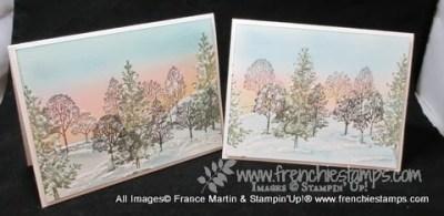 Lovely as a Tree Winter Scene with sponge Sunrise