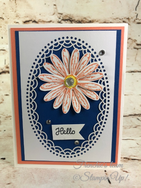 2018-2020 Stampin'Up! in-Colors, Frenchie Team challenge, daisy delight, Delightfully Detail Laser-cut paper