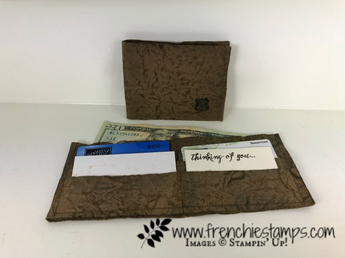 Faux Leather Wallet, One Wild Ride, DIY paper leather, Stampin'Up!, Frenchiestamps, Splitcoaststampers,