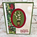 How to make a reindeer punch are with the Christmas Bulb, Sprig and Cookie cutter punch. All product by stampin
