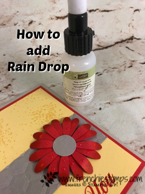 How to add rain drop on your lowers. Also would work for dew  on flowers. Very simple with Stampin'Up! find tip glue. I used the Daisy Punch, Daisy Delight and Artisan Textures stamp sets. Need Stampin'Up! product you can shop 24/7 at frenchiestamps.com