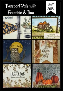 Passport Pals customer appreciation. This month all card are fall one. stamp set Country Home, Still Night, Pleasant Pheasants and Colorful Seasons. Designer paper Toil & Trouble. All product are from Stampin'Up! and can be purchase at frenchiestamps.com
