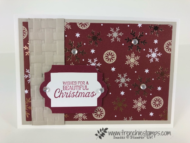 Learn how how to change the size of the everyday Label Punch in different length. Designer series paper Joyous Noel. Product by Stampin'Up! and can be purchase at frenchiestamps.com