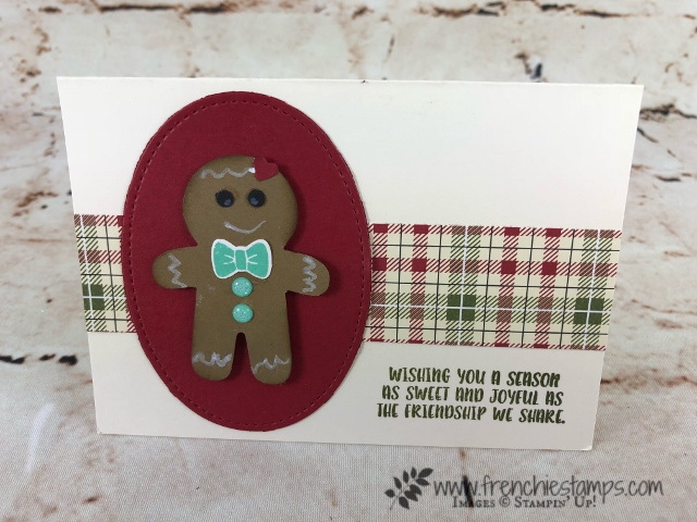 How to use the Take Your Pick tool by Stampin'Up! also a cute gingerbread card using the Cookie cutter punch. All product can be purchase at frenchiestamps.com