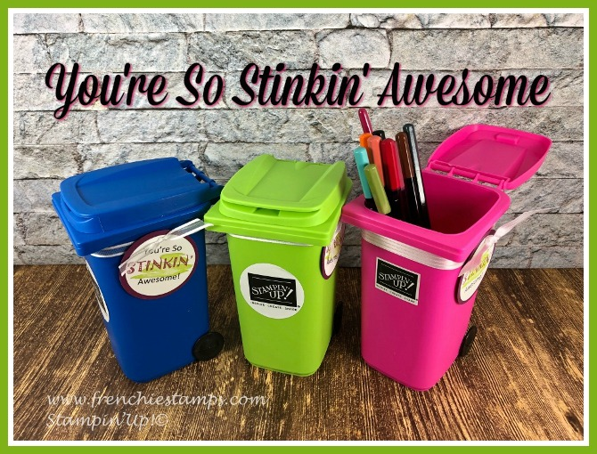 The mini trash bin are perfect to letter your friends know how awesome theyr are. All this lovely gift are for Frencie' Teammates attending Stampin'Up! 30th anniversary Onstage conference. #30stampinuporlando