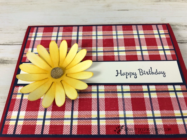 How to make the perfect Buffalo Check background with extra line. Finishing with the daisy punch. So cuntry feel to this card. All product by Stampin'Up! available at frenchiestamps.com