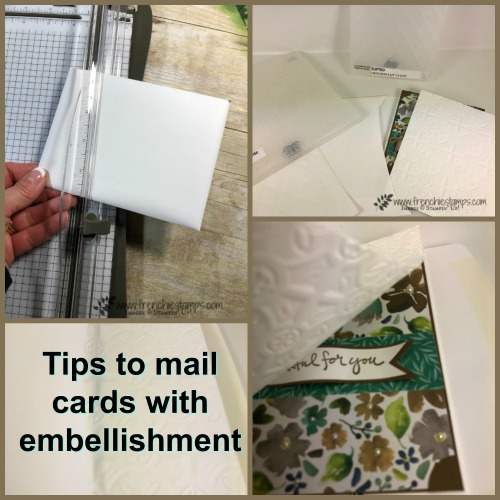 Tip to mail card with embellishments. Embossing folder and cardstock will do the trick. How to video. Frenchiestamps.com