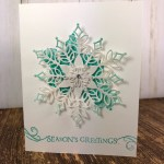 Limited Edition Snowfall Thinlits. Simple card and so elegant. Stamp set Beautiful Blizzard. All supplies by Stampin