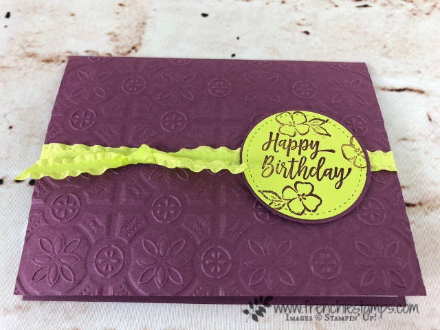 How to emboss a card base in both direction. In this one I used the Tin Tile embossing folder. Quick and simple card. All product by Stampin'Up! and can be purchase at frenchiestamps.com