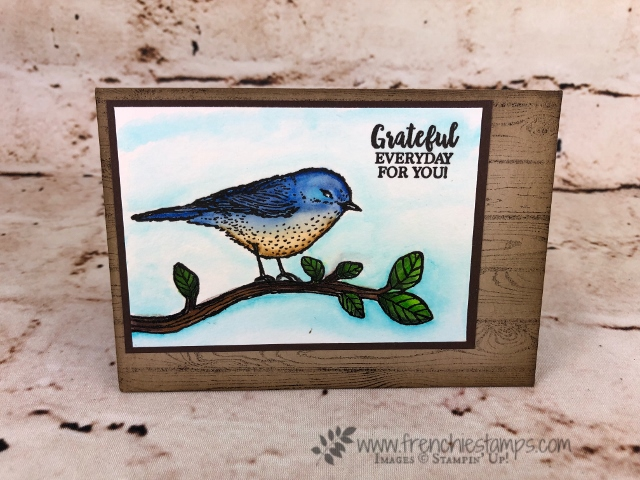 Watercolor card with Best Bird Stamp set and background with Hardwood. All product from Stampin'Up! and can be purchase from frenchiestamps.com