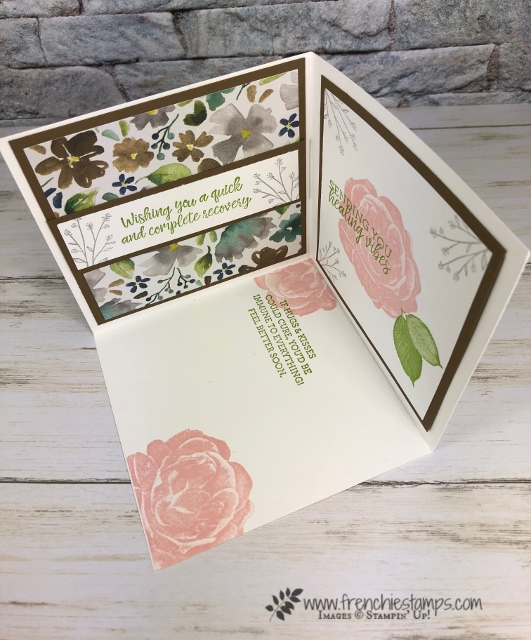 wow Fold,3 side card. Healing Heart. Live class with Frenchie Stamps. All product by Stampin'Up! available at frenchiestamps.com