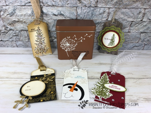 Tea Tin and Gift Tag. Live with Frenchie on Facebook and You tube. All products by Stampin'Up!