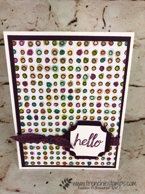 """Quick and simple card with Share What You Love designer paper and Darling Label punch box. All product by Stampin""""Up! available to purchase at frenchiestamps.com"""