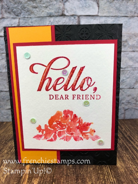 How to use the Stamparatus and Brusho for a fun Stamp wash on watercolor paper. Stamp Set Floral Phrases and Live is Grand. All product by Stampin'Up! available at frenchiestamps.com