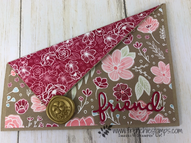All about Diagonal Cut on cards. Live class on You Tube with Frenchie and Holly. All product by Stampin'Up!. Detail at frenchiestamps. Diagonal Gated Fold. Diagonal Flap Card.
