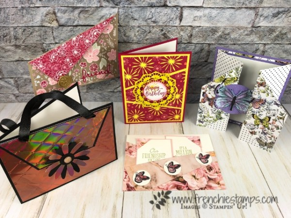All about diagonal cards. PDF for sale at frenchiestamps.com. All product are from Stampin'Up! available at frenchiestamps.com
