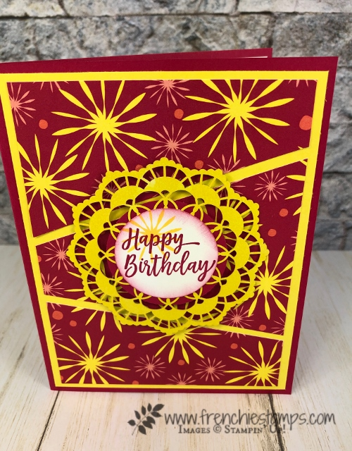 All about Diagonal Cut on cards. Live class on You Tube with Frenchie and Holly. All product by Stampin'Up!. Detail at frenchiestamps. Diagonal Gated Fold. Bloom by Bloom