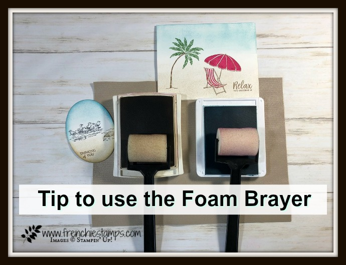 Tip on how to use the Foam Brayer and how to secure the stamp pads not to slide. Foam brayer by Stampin'Up! avaialbe at frenchiestamps.com Stamp set for this card is By the Bay