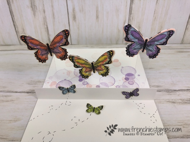 Botanical Butterfly Designer paper for a easy pop up floating butterfly card. All product by Stampin'Up! available at frenchiestamps.com