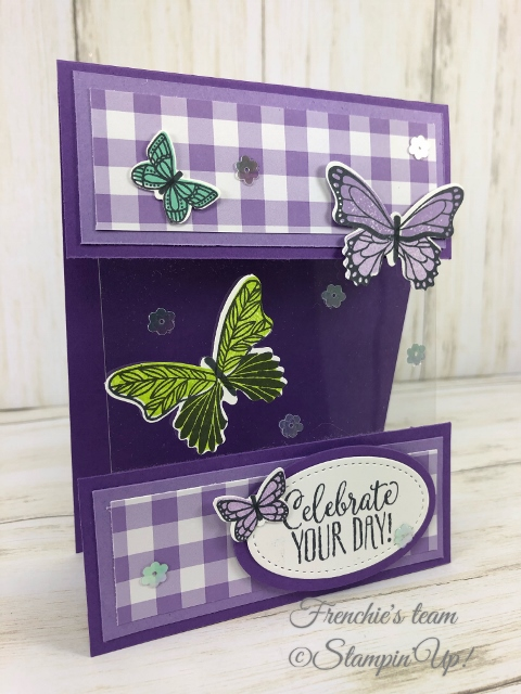 Frenchie's Team in the spotlight with the Gala Designer Paper. Frenchie's Team in the spotlight with the Gala Designer Paper. Stamp Set Butterfly Gala . All product by Stampin'Up available at frenchiestamps.com