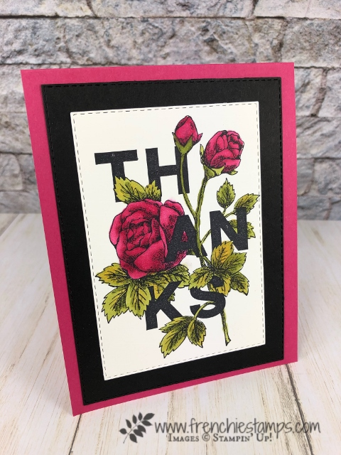 Simple card with the Floral Statement and tip to die cut with a stitched rectangle die. All product by Stampin'Up! available at frenchiestamps.com