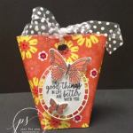 May Day Basket. Butterfly Gala, Happiness Blooms designer paper. All product by Stampin