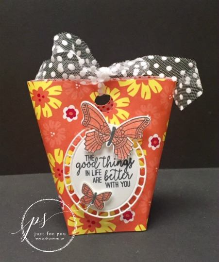May Day Basket.  Butterfly Gala, Happiness Blooms designer paper. All product by Stampin'Up! available at frenchiestamps.com