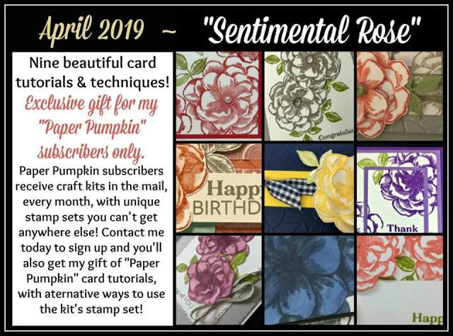 April 2019 Paper Pumpkin Sentimental Rose extra inspiration using the stamp set at frenchiestamps.com