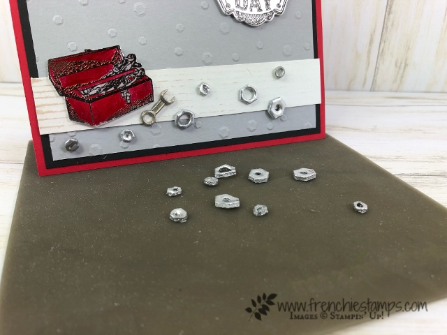 Great masculine card using eh Geared Up Garage bundle and how to make your own nuts and and bolts with dimentionals. This is show case on splitcoaststampers. All product by Stampin'Up! available at frenchiestamps.com