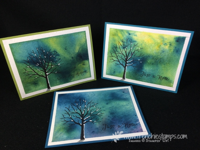 Brusho and Sheltering Trees. All product by stampin'Up! available at Frenchiestamps.com
