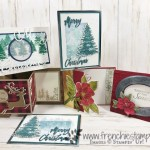 Christmas in July card class on You Tube with Frenchie and Holly. Stamp sets are Winter Woods, Dashing Deer, Bokeh Dots, A Wish For Everything, Good Morning Magnolia, Woven Heirlooms, Merry Christmas to All, Rooted In Nature, Buffalo Check, Waterfront. All product by Stampin