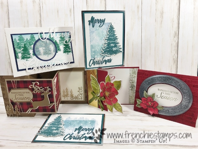Christmas in July card class on You Tube with Frenchie and Holly. Stamp sets are Winter Woods, Dashing Deer, Bokeh Dots, A Wish For Everything, Good Morning Magnolia, Woven Heirlooms, Merry Christmas to All, Rooted In Nature, Buffalo Check, Waterfront. All product by Stampin'Up! available at frenchiestamps.com