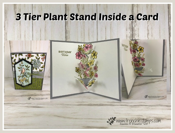 How to make a 3 tier plant stand inside a card. Stamp set Free As A Bird, First Frost and Butterfly Wishes. All products from Stampin'Up! available at frenchiestamps.com