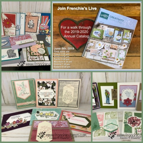 Stampin'Up! 2019-2020 annual catalog products available now at frenchiestamps.com To a Wild Rose, Sailing Home, Woven Heirlooms, Over the Moon, Good Morning Magnolia and more