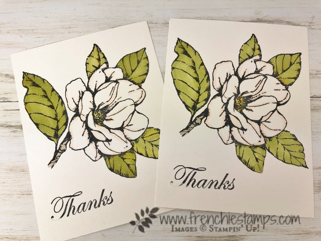 Simple way to color Good Morning Magnolia with blends. All products by Stampin'Up! available at frenchiestamps.com