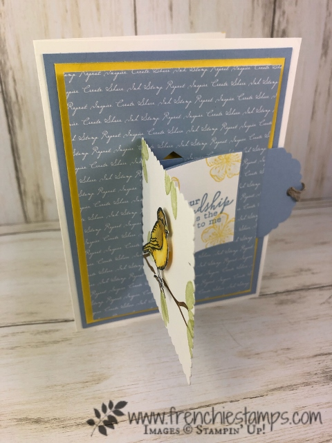 Interactive card. Pull Tab Flap. Stamp set Colorful Seasons, Free As A Bird, Butterfly Wishes. All product by Stampin'Up! Available at frenchiestamps.com in the USA
