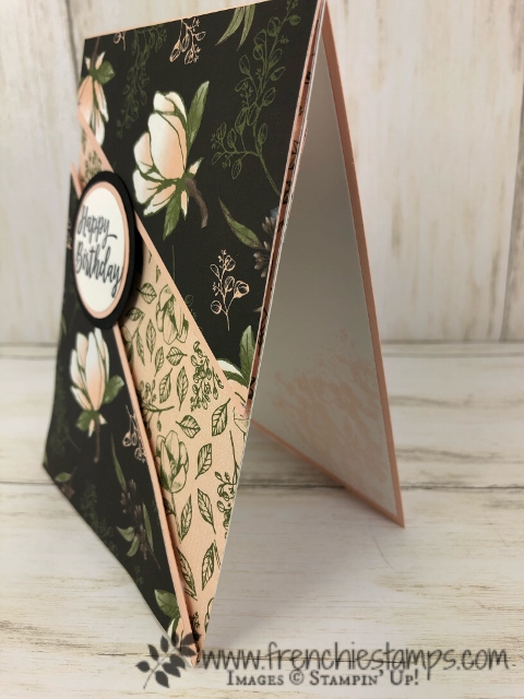 Recessed card with a gift card holder. Using the Perennial Essence or Magnolia Lane designer paper. All product by Stampin'Up! available at frenchiestamps,com