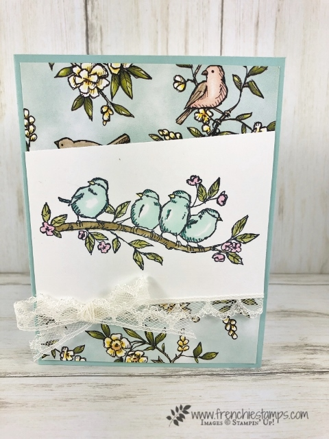 How to make a full insert for a A-2 card. Stamp set Free as a Bird also using the matching designer paper Bird Ballad. All product are from Stampin'Up! available at frenchiestamps.com