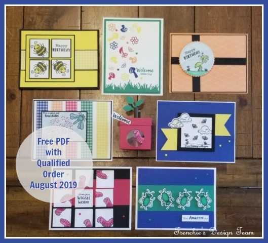 Frenchie' Team  August customer appreciation.  Project download. Stamp set of choice are Wiggle Worm 7 cards totals and a box. #frenchiestamps #stampinup #stampingtutorial #cardmaking