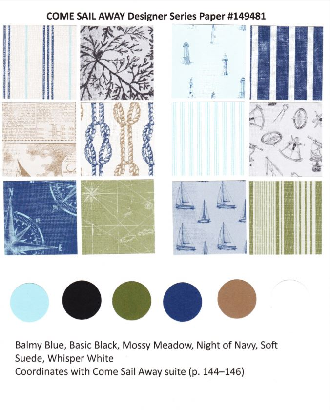 Come Sail Away Designer Paper  by Stampin'Up! chart available at frenchiestamps.com